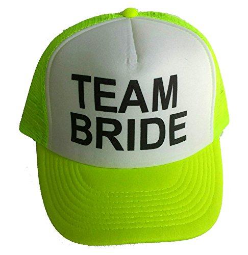 Neon Team Bride Mesh Trucker Hat Cap Bachelorette Party Wedding Snapback (Neon Yellow)