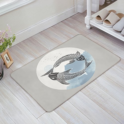 Front Door Entrance Door Mats Chinese Ink Style Double Fishes Doormat Non Slip Rubber Backing Remove Shoes Rugs Machine Washable Low Profile Carpet 18 x 30 Inch, Grey and Blue ()