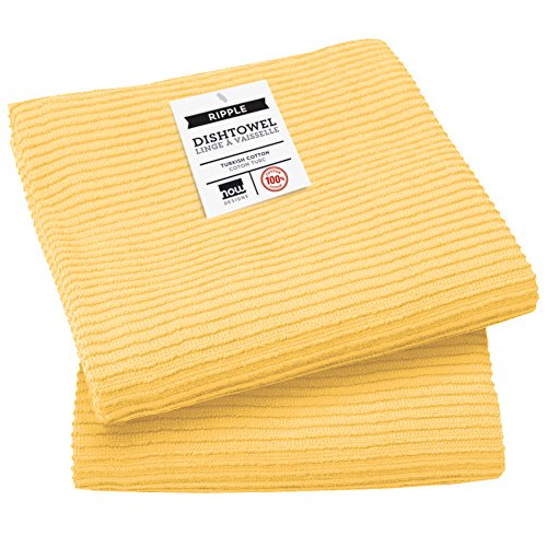 2 Towels Kitchen Dish (Now Designs Ripple Kitchen Towel, Set of 2, Lemon Yellow)