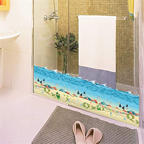 (BIBITIME Undersea Sand Beach Bathroom Window Border Decal Sea Water Wave Bubbels Algae Tropical Fishes Wall Stickers Vinyl Art Mural Nursery Kids Room Decor Bathtub Washstand PVC Decorations)