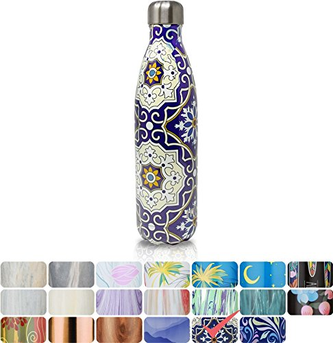 MIRA Vacuum Insulated Travel Water Bottle   Leak-proof Double Walled Stainless Steel Cola Shape Sports Water Bottle   No Sweating, Keeps Your Drink Hot & Cold   25 Oz (750 ml) (Mandala)