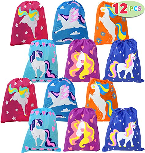 Drawstring Unicorn Goodie Bags Bulk (12 Pack) for Unicorn Party Supplies, Unicorn Party Favors for Girls, Unicorn Party Decorations, Unicorn Pinata, Candy Bags, Baby Shower, School Classroom Prizes