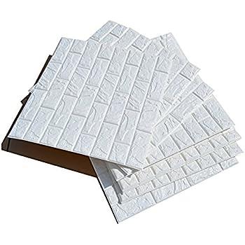 Ancous 3D Imitation Brick White Wall Stickers,DIY Waterproof Self Adhesive Decorative Wallpaper 60CMx60CM (5PCS)