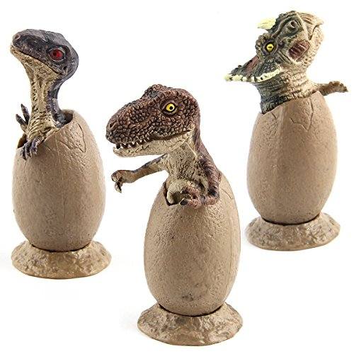 Abbien Educational Dinosaur Figure Toys Set, Eggs Model Ornaments Gifts for Collectors Kids(3 Pcs) Baby Dinosaur Miniature