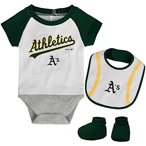 MLB Newborn Baseball Kid Bodysuit, Bib & Booties Set - White (0/3 Months, Oakland Athletics)