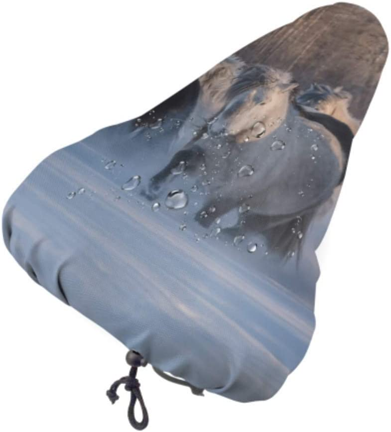Cubierta de sillín de bicicleta para niños Funda de asiento de bicicleta de caballos de raza Yakut Cubierta de asiento de bicicleta de mujer con cordón, resistente a la lluvia y al polvo para la may