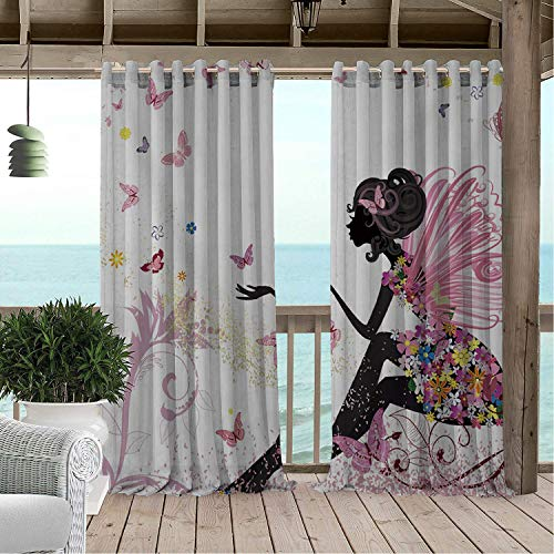 Gazebo Waterproof Curtains Cartoon Butterfly African Woman Porch Grommets Decor Curtain 120 by 108 -