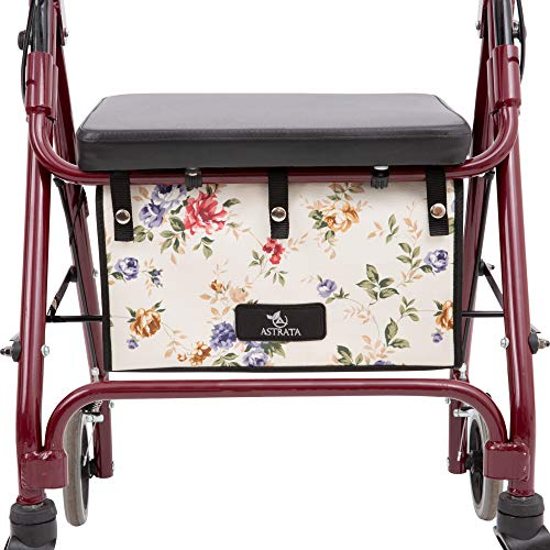 Extra Large Walker Underseat Bag - Rollator Accessories - Under Seat Storage Pouch (Floral)