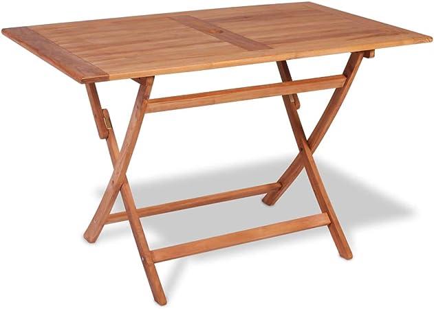 Vidaxl Bois De Teck Table A Diner Pliable De Jardin Table D Exterieur Mobilier Amazon Fr Cuisine Maison