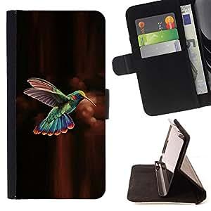 - hummingbird brown chocolate green - - Prima caja de la PU billetera de cuero con ranuras para tarjetas, efectivo desmontable correa para l Funny HouseFOR Apple Iphone 6