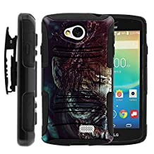LG Tribute, Transpyre, and F60 High Impact Belt Clip + Holster Kickstand Hard Shell Case Combo Demons | Skulls | Monster Artwork Series by Miniturtle ® - Close up Zombie