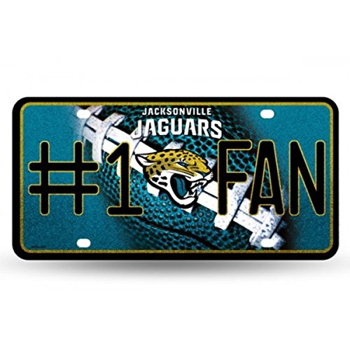 NFL Jacksonville Jaguars Bling #1 Fan Metal Auto Tag Plate, 12 x...