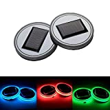 Pack of 2, Onerbuy Solar LED Car Cup Holder Mat Pad Waterproof Bottle Drinks Coaster Built-in Light and Vibration Sensor Car Interior Decoration Light Lamp (Colorful)
