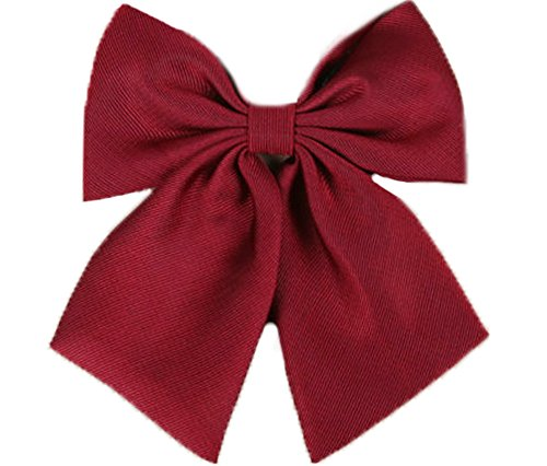Flairs New York Women Handmade Pre-Tied Bowknot Bow Tie (Crimson Red [Stripes Texture])