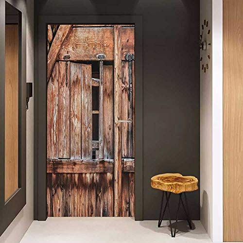 Onefzc Door Sticker Mural Rustic Abandoned Damaged Oak Barn Door with Iron Hinges and Lateral Cracks Knock Theme WallStickers W31 x H79 Pale Rosewood