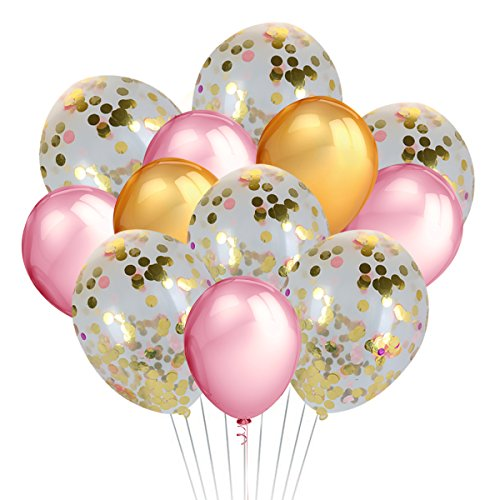 34 PCS Confetti Balloons 18'' Gold and Pink Foil Pre-Filled and 12'' Gold and Pink Latex Party Balloons for Wedding, Engagement,Birthday Bridal,Shower,Baby Shower,Hawaiian Tropical Party Decorations
