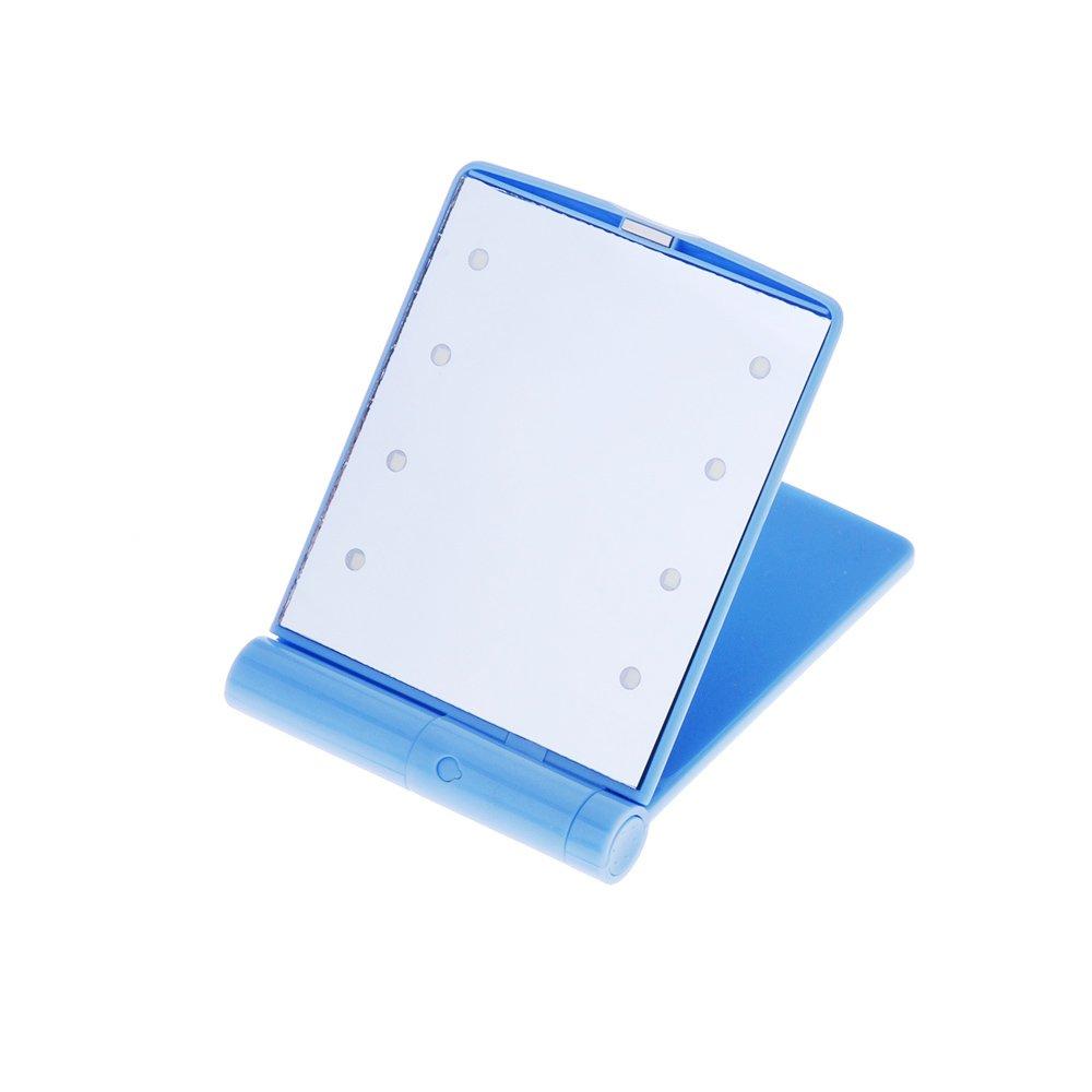 Espejo Maquillaje Plegable Iluminado,Espejo de Luz Sobremesa,Espejo de Afeitar Cosm/ético Espejo de Maquillaje de Viaje AZX Mini Espejo de Maquillaje Led del Mano