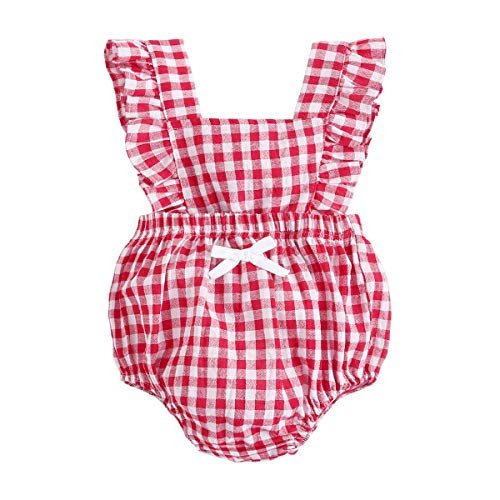 BubbleColor Baby Girl Plaid Romper Ruffle Sleeve Sleeveless Jumpsuit One Piece Cotton Bodysuit for Newborn Infant Toddler Outfit Princess Clothes (0-6 Months, ()
