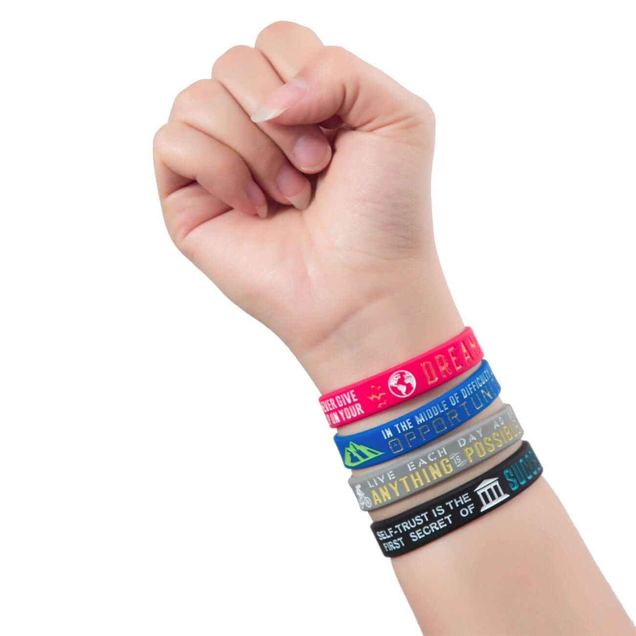 Motivational Wristbands for Athletes Men Sainstone Inspirational Bracelets Women and Teens Sports Fan Wristbands Gifts Opportunity for Athletes Anything is Possible Dreams Success