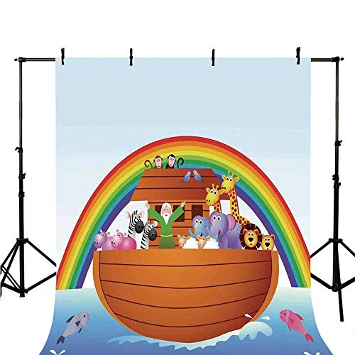 Noahs Ark Stylish Backdrop,Noah Ark and Colorful Sky Every Kind of Creature Sailing Artful Design Print for Photography,118