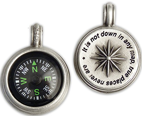 Journeyworks Compass Rose Compass Pendant with Melville Quote