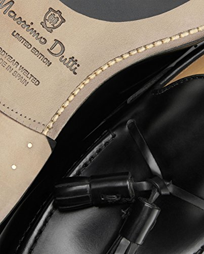 Massimo Dutti Herren Schwarzes Leder Goodyear loofers mit tasseln 2700/022