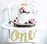 1st First Birthday Decoration Set One High Chair Banner and One Cake Topper in Gold Glitter