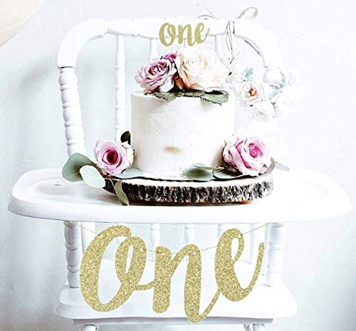 ecoration Set One High Chair Banner and One Cake Topper in Gold Glitter ()