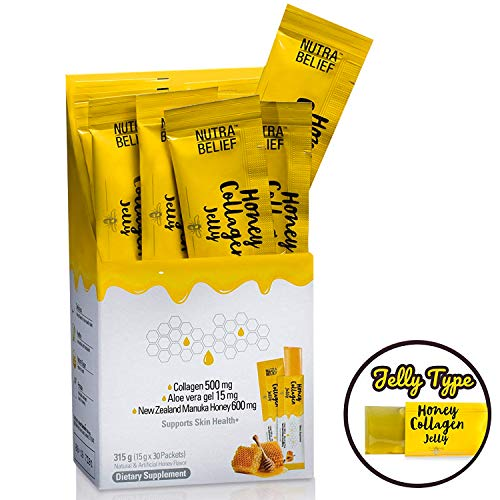 Collagen Peptides with Manuka Honey - Daily Edible Jelly Easier to Take Than Pills, Gummies, or Liquid Collagen Supplements - Supports Skin Health - Nutra Belief - 30 Packet Sticks