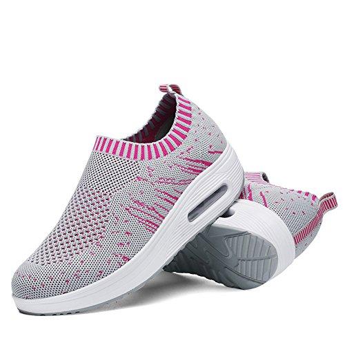 Frauen Form ups Stärke Fitness Komfort Wandern Keile Elastische Atmungsaktives Mesh Fitness Turnschuhe Schaukel Wanderschuhe Für Gestaltung Beine Sneaker Plateauschuhe für Frauen Grau / Pink