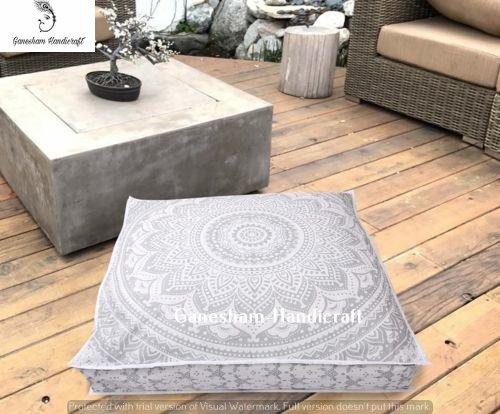 GANESHAM Indian decorative throw pillow mandala dog bed, mandala boho decor, h0andmade mandala floor pouf ottoman boho pillow tapestry cat or Kids bedding 35x35 -