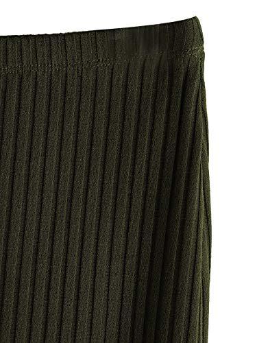 SheIn Women's Basic Plain Stretchy Ribbed Knit Split Full Length Skirt