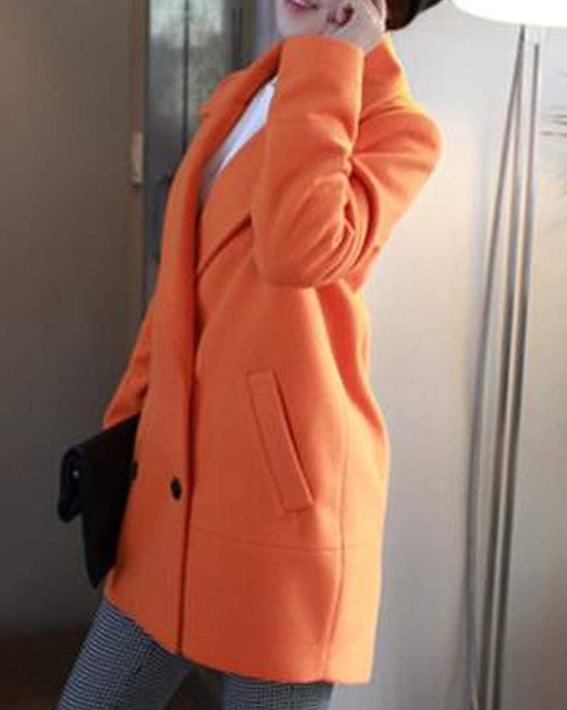 Manteau en Laine Grande Taille pour Femme Revers Casual L/âche Long Manteau De Laine