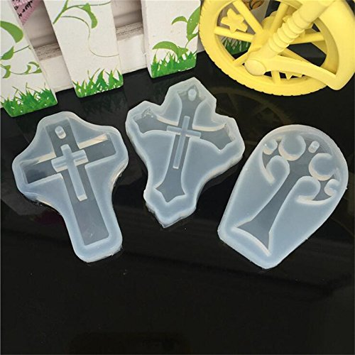 (Welcome to Joyful Home 3pcs/lot Cross Silicone Mould DIY Resin Decorative Craft Jewelry Making Mold epoxy Resin molds)