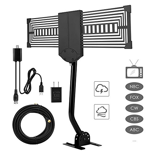 TV Antenna Outdoor Long Range 150 Miles, Famirosa Clearview Digital HD TV Antenna Indoor Omni Directional, Come with Amplifier and Mounting Pole Mount