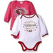 Gerber Childrenswear  Love Football San Francisco 49ers 2Pk Long Sleeve Bodysuit, 3-6 Months, Pink, San Francisco 49ers
