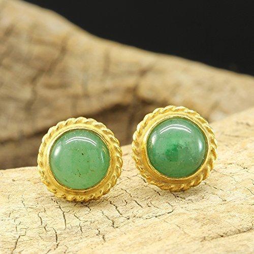 Natural Green Jade Stud Earrings 925 Solid Sterling Silver 24K Yellow Gold Vermeil Roman Art Handcrafted Artisan Handmade Gemstone (Sterling Vermeil Earrings)
