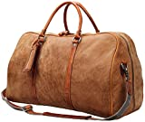 Iblue Leather Weekend Bag Brown Travel Overnight Duffels Carryon Luggage Tote #D02 (L, light brown soft leather)