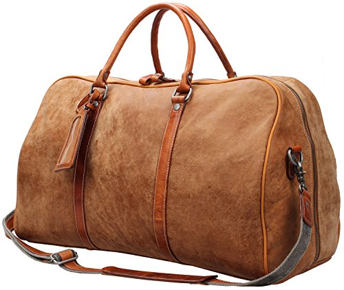 Iblue Leather Weekend Bag Brown Travel Overnight Duffels Carryon Luggage Tote #D02 (L, light brown soft leather) by iblue