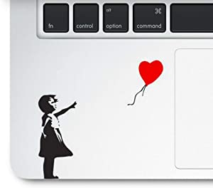 Decal & Sticker Pros Girl with Balloon Printed on Clear Vinyl Compatible with All Apple MacBook Air Pro and Retina, Laptop Trackpads