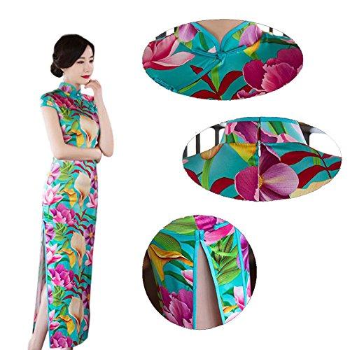 sera Floreale Lungo Stampato Qipao 04 Robe Elegante Slim Seta Tradizionale Hzjundasi Vestito da Vestito Donne Cheongsam 7I8Tttqxw