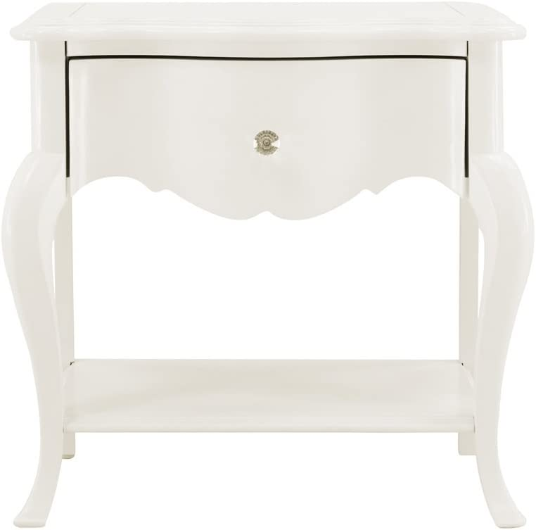 InRoom Furniture Designs Angellina White Finish Solid Wood Night Stand