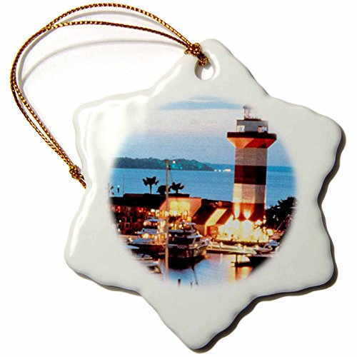 (3dRose orn_61725_1 Harbor Town Lighthouse at Hilton Head Island at Dusk Snowflake Decorative Hanging Ornament, Porcelain,)