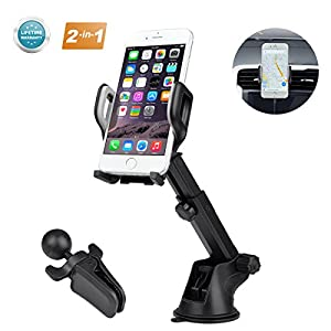 Car Phone Mount,Air Vent Car Phone Mount 3-in-1 Universal Cell Phone Holder Dashboard Windshield Car Mount Phone Holder for Car 360 Degrees Rotation Compatible for Samsung Galaxy LG Sony Note and More