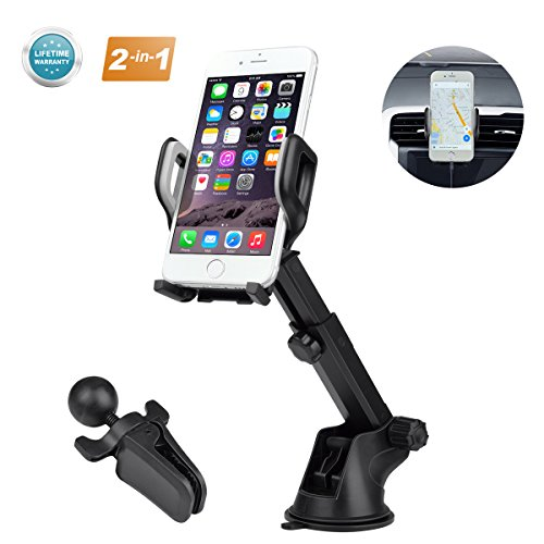 Car Phone Mount, Air Vent Holder Car Mount, Universal Phone Holder For Car Cell Phone, Upgrade 360 Degrees Dashboard Windshield Mount For iPhone 8 Plus,7 Plus,X,7,6S,6,Samsung Galaxy Note,LG,HTC by KIMCADE