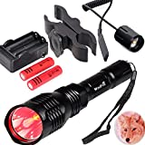 WindFire WF802 Waterproof 350 Lumens 250 Yards Red Cree LED Coyote Hog Fox Predator Varmint Hunting Light Kits with Remote Pressure Switch & Scope/Bike Mount Holder & Spare 18650 Battery and Charger