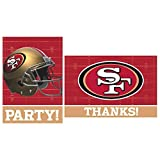 """Sports and Tailgating NFL Party San Francisco 49ers Invitation and Thank You Card Set , Paper, 3"""" x 5"""", Pack of 16"""