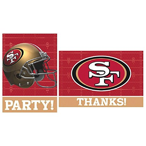 Sports and Tailgating NFL Party San Francisco 49ers Invitation and Thank You Card Set , Paper, 3