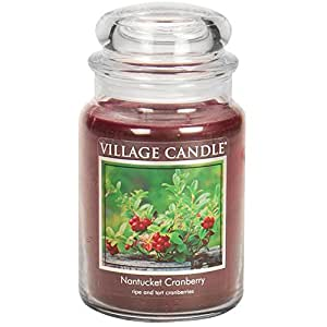 Vela Pueblo - Vela perfumada en frasco de vidrio, de gran tamaño, 17 x 10 cm, 1.219 g, la fragancia: Nantucket Cranberry (duración: hasta 170 horas)