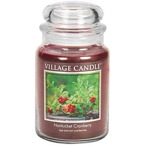 Village Candle Nantucket Cranberry 26 oz Glass Jar Scented Candle, Large by Village Candle